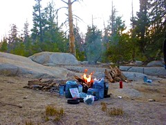 Camp fire at dusk (Lost in Flickrama) Tags: yosemite nationalpark hiking backpacking adventure johnmuirtrail wilderness granite rocks pinetrees california