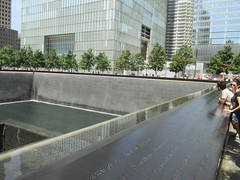 World Trade Center Memorial Fountains 2016 NYC 4354 (Brechtbug) Tags: 911 memorial fountain lower manhattan 2016 nyc footprint world trade center wtc ground zero september 11 2001 downtown new york city 2011 fdny public monument art fountains 08272016 foot print freedom tower today west skyscraper building buildings towers reflection pool water falls waterfalls wall walls pools tier tiered 15 years fifteen five