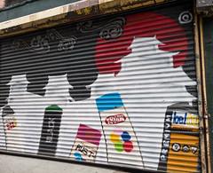 Spray Paint Self Portrait (UrbanphotoZ) Tags: gate rolldown streetart urbanart aerosol spraypaint krylon rust trustedquality premium belton molotow rustolium cans lowereastside manhattan newyorkcity newyork nyc ny