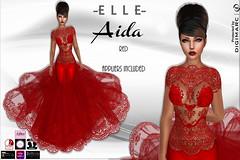 -E L L E- Aida Red (AdelleBelle) Tags: elle mesh body applier omega tmp belleza slink maitreya formal elegant evening dress long