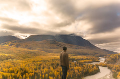 Enroute Matanuska (#anubhav) Tags: solo backpack trees mountains travel traveller outdoor alaska man wilderness wild cloud clouds fall colors anchorage trip explore river serene sky nature tree light new