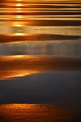 Zebra crossing sunset (Juampiter) Tags: sunset rayas marina atardecer golden playa puestadesol bandas bajamar reflejos dorado orilla nadie rayado pasodecebra prohibicin quietud sealdetrfico arenamojada refle