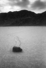 Racetrack Playa (voetshy) Tags: leica white black film racetrack 35mm death moving rocks voigtlander 28mm playa valley m6 efke ultron ir820