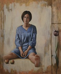 Reflections (kobanashikaoru) Tags: portrait woman apple painting drawing egg canvas tulip sumi tempera tunic alkyd