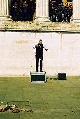 Roll 2 - Yo-Yo Guy (Cris Ward) Tags: street camera old city uk orange streets color colour slr london film yellow rollei analog 35mm vintage daylight lomo xpro lomography warm artist cross britain crossprocess grain trafalgarsquare slide retro crossprocessing april analogue manual noise performer processed e6 yashica blown colorshift lsi c41 2013 yashicafxd colorreversal cr200 lomolab digibase rolleidigibasecr200