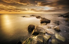 What Remains (Ross Magrath) Tags: uk sunset sea 2 england sun lake seascape cold west colour beach water clouds canon landscape photography eos golden coast ross big rocks warm long exposure moody near 10 mark district north full stop filter ii frame what l 5d remains whitehaven f28 ef hdr eastcoast density stopper mkii parton neutral magrath 1635mm rocketross