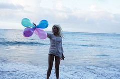 (Rebecca Ann Spencer) Tags: sea white black girl tim waves bach walker ballons whire