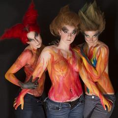 Flame ON! (austinspace) Tags: blue red portrait orange woman nude amber washington model paint spokane redhead kaitlin pasties kaitie calmdownflickrtheyrewearingpasties