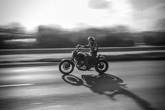 Hells Angel (Josh-Samways) Tags: road uk b bw white black bike night speed bay movement driving cyclist w wheels helmet goggles fast bikes holes quay motorbike chrome angels cycle biking dorset motor panning poole handlebars bikers hells motorcyclist