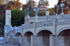 Waverly Approach Glendale-Hyperion Viaduct, Los Angeles (Jason Scheier) Tags: park lighting bridge blue sunset red car river concrete la losangeles village bokeh bridges historic atwater hyperion bridgeway