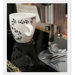Coffee Bean espresso mug (BohemianFlow's Handmade Boutique) Tags: morning cats white coffee breakfast writing cat mugs miniature blackwhite milk funny hand tea painted text funky tiny mug croissant teapot porcelain bohemian