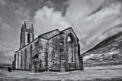 Dunlewey in B&W (Canon Queen Rocks (3,000,000 + views)) Tags: old ireland sky blackandwhite bw tower church clouds landscape mono ruins scenery scenic structure churchyard brickwork codonegal mterrigal dunlewey