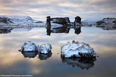 Lake Mvatn - North Iceland (skarpi - www.skarpi.is) Tags: winter white lake snow cold sunrise reflections island iceland calm workshop myvatn vatn mvatn lakemyvatn phototour northiceland skarpi stuvatn skarphedinnthrainsson