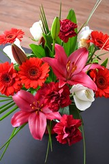 (strawberry-walrus) Tags: flowers red roses flower love rose lily lilies bouquet redflower whiterose redflowers redlily pinklily whiteroses pinklilies redlilies