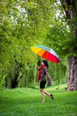 Koka. (Bart) Tags: woman cute sexy girl beautiful beauty umbrella canon eos rainbow model eyes women pumps dress legs jacket 5d charming pinup modele mark2 koka thights canonef135mmf2lusm ef135mmf2l ef135mmf2lusm 5dmarkii 5dmark2