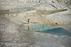 Blue and White Yoga (Greg - AdventuresofaGoodMan.com) Tags: yoga turkey landscape bluewater pamukkale hotsprings denizli treepose springwhite denizliturkey denizliprovince terracehot turkeytravertineswater
