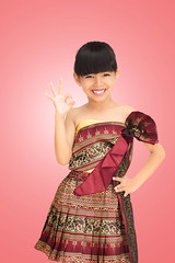 Thai little girl with thai traditional clothes style (Patrick Foto ;)) Tags: pink portrait woman girl beautiful beauty smiling fashion lady female standing vintage garden asian thailand happy gold golden perception costume kid model glamour asia pretty child looking dress shot needlework dancing bright image