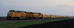 UP Business Train (JayLev) Tags: railroad sunset up car malta unionpacific passenger g3 fleet creston rochelle businesstrain global3