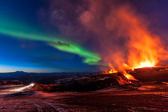 Wonders Of Nature - Revisited (Kristinn R.) Tags: sky mountains stars lava iceland nikon northernlights auroraborealis fimmvruhls tindfjll volcaniceruption d3x nikonphotography nikond700 kristinnr
