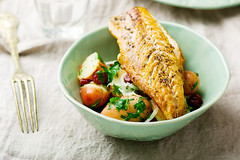 fried mackerel with potatoes in a bowl (Zoryanchik) Tags: mackerel fish potato fried food meal baked grilled plate dinner lunch delicious dish herb healthy nutrition cuisine rustic cooked prepared salad tasty oily roasted vegetable