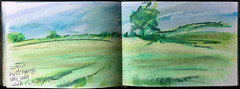 Oats at Auster Grange (johnhumber48) Tags: pastels pastellandscape pasteldrawing sunkisland sketchbook sketchbookpages summer