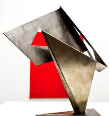 Modern Art (littlestschnauzer) Tags: art sculpture metal metallic red painting hepworth gallery wakefield uk tourist attraction 2016 summer display exhibit modern shapes angular artwork yorkshire