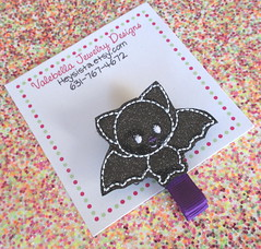 Bat GLOW iN tHE DARK Halloween costume black embroidered glows glitter vinyl one clip glowing sparkle (ValebellaJewelryDesigns) Tags: hairclip hair accessory fall autumn glowinthedark acorn bat turkey thanksgiving halloween glitter girls backtoschool heysista valebella