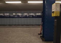 Frankfurter Tor (Blinkofanaye) Tags: tor berlin germany deutschland ubahn subway train transportation bvg woman leg underground suggestion blue yellow station frankfurter