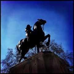 Edward VII Statue, Waterloo Place (firstnameunknown) Tags: iphoneography hipstamatic london waterlooplace bronze equestrian sculpture statue horse edwardvii kingedwardvii edgarbertrammackennal silhouette