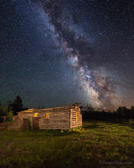 "Shane Cabin with Milky Way (IronRodArt - Royce Bair (""Star Shooter"")) Tags: shane shanecabin pioneer movie movieset milkyway nightphotography lightpainting nightscape starrynight stars starrynightsky kellywyoming kelly wyoming grandteton tetons cabin pioneercabin historic alanladd"