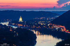 Calm- August 20, 2016 (zachary.locks) Tags: above along blue building calm capitol charleston city cy365 dome eagle evening golden hour interstate kanawha lights night river sunset traffic trails view westvirginia wv zlocks