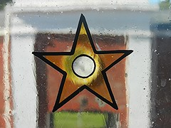 Stars and the Clock Tower... (BAKAEDAR) Tags: macromondays stars bictoncollege devon stainedglass window victorian