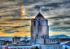 Sundog Right Close Up Roanoke (Terry Aldhizer) Tags: terryaldhizer sundog close up right wells fargo tower bank dr pepper buildings mountains reflections optic clouds sky terry aldhizer wwwterryaldhizercom