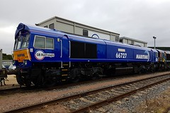 66727 Peterborough 17.09.16 (jonf45 - 2.5 million views-Thank you) Tags: trains railways br british rail diesel locomotive class 66 66727 maritime 1 gb railfreight gbrf peterborough