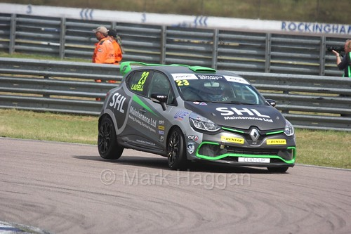 Charlie Ladell at Rockingham during the Clio Cup, August 2016