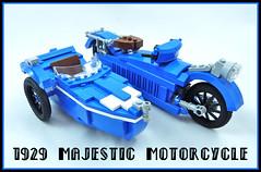 1929 Majestic Motorcycle (Lino M) Tags: 1929 majestic motorcycle sidecar side car french racing blue art deco lego lug nuts lino martins exclusive edition sacrebleu sacreblue bernadette white