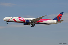 Special Livery, Delta Airlines - BCRF (Pink Ribbon), Boeing 767-400ER (Ron Monroe) Tags: deltaairlines bcfr pinkribbon boeing 767 lax klax airliners airlines n845mh