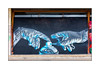 Graffiti (Fanakapan), South London, England. (Joseph O'Malley64) Tags: fanakapan graffiti streetart southlondon london england uk britain british greatbritain panels plywoodpanels shopspace cladding woodenframework limestonesteps pavement glovedhands latexgloves aerosolpaintcan mural muralist aerosol cans spray paint