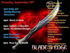 Today's Events at Blade's Edge 09 29 2016 (Blade's Edge BDSM) Tags: bladesedge secondlife justbe be adult bdsm discussions supportgroups nightlife djs community