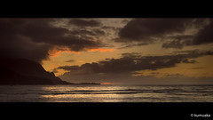 Bali Hai (kumuaka) Tags: princeville hawaii アメリカ合衆国 us ocean pacificocean sea landscap outdoor sky zeiss carlzeiss 50mm ze planart1450 sony a7s beach kauai hanalei summer bay skiline sunset glow evening sun sunsetcolours clouds