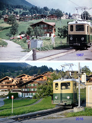 49 Years later... (JohannesMayr) Tags: wengen wengenalpbahn train mountain grindelwald schweiz switzerland alpen alps zug zahnradbahn schienen rails rack bern kanton berner oberland 1967 2016 bebauung häuser tourismus
