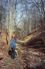 Hike (guytheorphan) Tags: olympus xa olympusxa 35mm zuiko f28 zuiko35mmf28 film color winter portra kodak iso400 kodakportra400 ky kentucky hiking woods dog