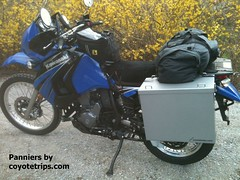 Kawasaki KLR650 with coyotetrips.com panniers (coyotetrips) Tags: motorcyclepanniers motorcycle coyotetrips topcase luggage cases boxes