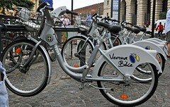 Verona Bikes (Vee living life to the full) Tags: verona italy travel tourism fountain palazzo barbieri bikes cafes coffee gravity water juliet house coliseum nikond300 leger tours coach