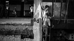 ''We like to play with our toys'' (haqiqimeraat) Tags: bangladesh blackwhite blackandwhite bw monochrome nikon chittagong railway composition 50mmf18 prime