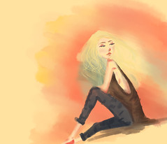 sun (Bruna Schenkel) Tags: blue woman sun color cute girl illustration digital photoshop hair wind tea sweet mulher think bonito sunny beaty velvet pot jeans thinking guria tablet menina bluevelvet beatyful bluevelvetteapot