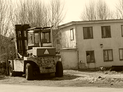 Beaten down house (petrusko.rm) Tags: old bw white house black sepia lumix down panasonic crap beaten dmc fz200