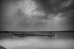 turning tide (zip po) Tags: longexposure sea blackandwhite dublin monochrome mono harbour tide slip clontarf