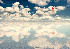 Fly a kite in your dream (zhongjianren76) Tags: blue red sky cloud white kite photoshop