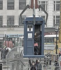 Dr Who come to Trafalgar Square (April 2013) (Nikon D7100) (markdbaynham) Tags: street city uk urban london digital matt square nikon who dr capital trafalgar smith location april tardis dslr filming dx 2013 apsc d7100 depotstevenage digitaldepotcouk